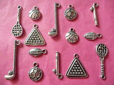Tibetan Silver Mixed Pack of Sport Themed Charms - 14 per pack Fathers Day