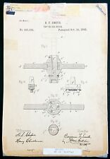 AMAZING AUTHENTIC ANTIQUE PATENT DIAGRAM TAP AND DYE INVENTION DRAWING SIGNED