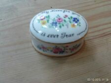 Staffordshire Crown fine bone china pill box - 'My love for you is ever true'