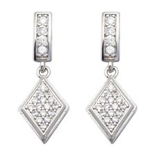 Small White Round Cubic Zircon White Gold Plated Girl Marquise Drop Earrings