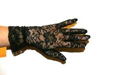 BLACK STRECH LACE GLOVES,WRIST,NEW