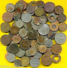 BRITISH INDIA COLLECTION OF 125 MIXED COINS, HEAVY USED & UNCLEANED COINS