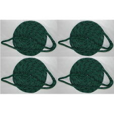 4 Pack of 3/8 Inch x 15 Ft Green Double Braid MFP Mooring and Docking Lines