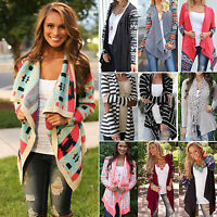 Womens Outwear Boho Irregular Long Sleeve Wrap Cardigans Casual Loose Coat Tops
