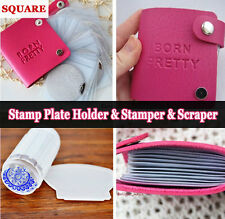 BORN PRETTY Square Nail Stamping Plates Holder Case & Clear Stamper Scraper Kit