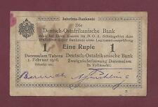 GERMAN EAST AFRICA 1 RUPIEN 1916 XF RARE ( TANZANIA WEST GERMANY )
