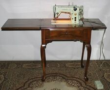 50s Vintage Singer 319K Sewing Machine in Burr Walnut Queen Anne Cabinet [P2660]