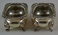 Marked England Silver on Copper Salt Dishes Lion Head Feet Set of 2