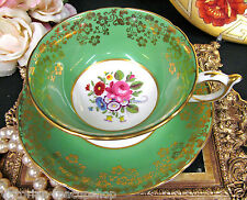 PARAGON TEA CUP AND SAUCER  GREEN & GOLD FLORAL ROSES PATTERN TEACUP