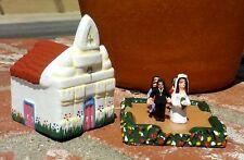 SMALL CLAY CHURCH WITH WEDDING PARTY HAND MADE IN EL SALVADOR FREE SHIPPING