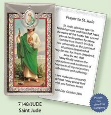 SAINT JUDE PRAYER CARD WITH COLOUR MEDAL - STATUES CANDLES PICTURES ALSO LISTED