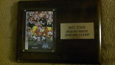 Bart Starr MVP Super Bowl 1 & 2 Plaque- W MVP Card Display- Outstanding Cond.
