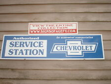 C.EARLY/1930s-40s CHEVROLET CLASSIC AUTO DEALER/SERVICE AD/SIGN GARAGE ART 1'X4'