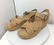 Kork-Ease 39/8 Ava Natural Tan Cork Platform Wedge Heels Sandals