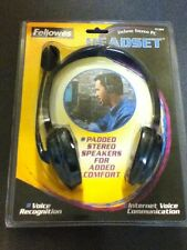 New Fellowes Deluxe Stereo Headset & Mic Wired 3.5mm 91504 Computer Voice Recogn