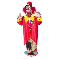 5' Animated Walking Clown Scary Circus Jester Moving Tongue Halloween Prop Decor