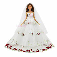 White Bridal Wedding Outfit Clothes Dress Long Veil For Barbie Doll Pretty Gift