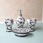 4Sets CREAM Ceramic ORIENTAL Bathroom Accessory Bottle Toothbrush Cup Soap New