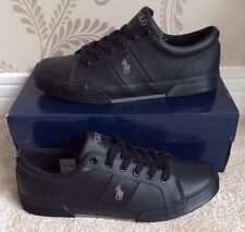 BNIB MENS POLO RALPH LAUREN FELIXSTOW TRAINERS/SNEAKERS SHOES SIZE 8 IN BLACK