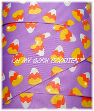 1.5 GLITTER CANDY CORN HALLOWEEN GROSGRAIN RIBBON 4 HAIRBOW BOW ORCHID