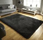Mega Thick Shaggy Rugs In Black - 7cm Deep Plush Pile 80x150cm Heavy Weight