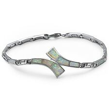 White Fire Opal Greek Key Design .925 Sterling Silver Bracelet