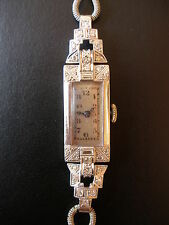 LADYS PLATINUM & WHITE GOLD DIAMOND SET ART DECO WRIST WATCH CIRCA 1930