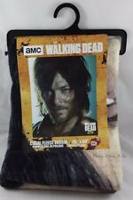 "New AMC The Walking Dead Daryl Dixon Face Fleece Throw Blanket 45""X 60"""