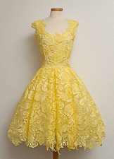 Yellow Emerald Green Lace Short Prom Cocktail Dress Pageant Homecoming Gowns