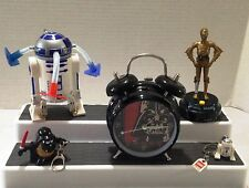 STAR WARS  ALARM CLOCK, TALKING C-3PO, KEY CHAINS, & R2D2 SPINNING LIGHT TOY