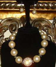 Off White Simulated Pearl and Rhinestone Necklace and Earring Set