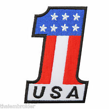 Number 1 USA US Flag American Biker Motorcycles Champions Iron-On Patches #FL024