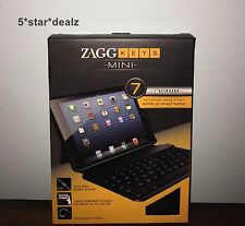 Zagg Keys Mini 7 Bluetooth Leather Keyboard Case For iPad Mini Black NEW