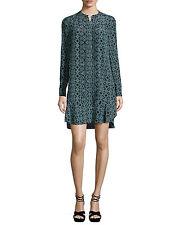 new Tory Burch MASSEY Printed Long Sleeve Silk Shirt Dress in BLACK POMPIDOU 8