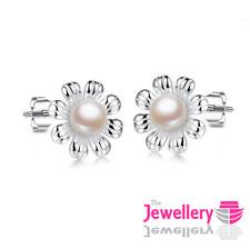 925 Sterling Silver Flower 5mm Ivory Pearl Stud Earrings Bridal Ladies Womens