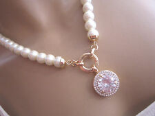 STRASS Collier Damen Hals Kette Modekette kurz Perlen Weiss Gold Bling Bling