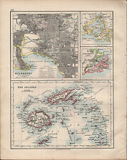 1914 MAP ~ MELBOURNE CITY PLAN ENVIRONS FIJI ISLANDS OTAGO HARBOUR PORT PHILIP
