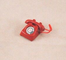 "Telephone Red Phone dollhouse miniature furniture 1/12"" scale G8008 metal"