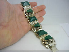 Stunning Large Heavyweight Vintage Mexican Sterling Silver & Jade Bracelet