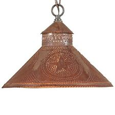 Stockbridge Shade Light in Rustic Tin w/ Stars | Primitive Kitchen Ceiling Light