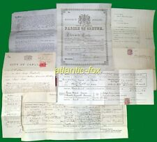 1854-1924 MASON family, with Scarce GRETNA Toll House Marriage Cert, + Death etc