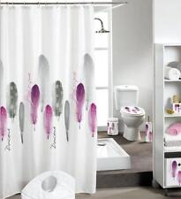 Feather Design Bathroom Shower Curtain 180cm X 200cm Polyester Hooks