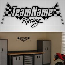 Racing Personalized Checkered Flag sticker, Garage,Truck,Toolbox,trailer decal