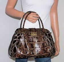 NWT Brahmin Laura Satchel Handbag Shoulder Bag Espresso Orinoco Croc Emb Leather