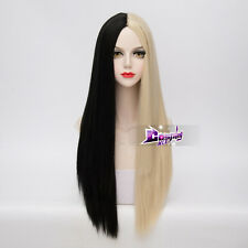 70CM Black Mixed Blonde Long Straight Hair Lolita Ombre Anime Cosplay Wig + Cap