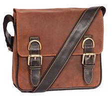 Unisex REAL Leather Bag HL12 Tan Brown Double Buckle Shoulder Messenger Bag NEW