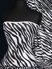Black/White Zebra 4 Way Stretch Shiny Lycra Material SLYC 26 BKWHT