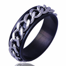 Classic Men's Ring Stainless Steel iron chain Band Ring Size 10 Fashion