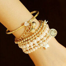 Fashion Womens Unique Jewelry Gold Metal Pearl Multilayer Pendant Bracelet