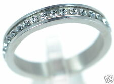 Solid 925 Sterling Silver Swarovski Crystal Eternity Band Ring Sz-5 '
